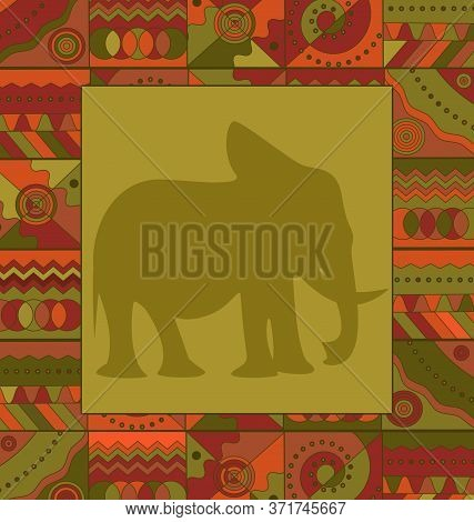 Background Image Ornament Abstract Colored Frame With Elephant