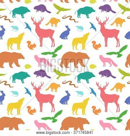 Vector Silhouette Animals Seamless Pattern. Deer, Hare, Fox, Hedgehog, Squirrel, Wolf, Bear, Snake,