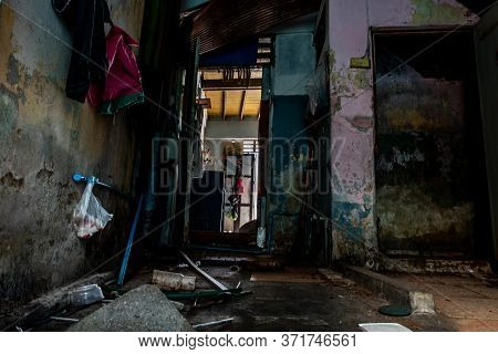 Bangkok, Thailand - Jan 19, 2020 : Abandoned House Interior To Deteriorate Over Time, Abandoned Hous