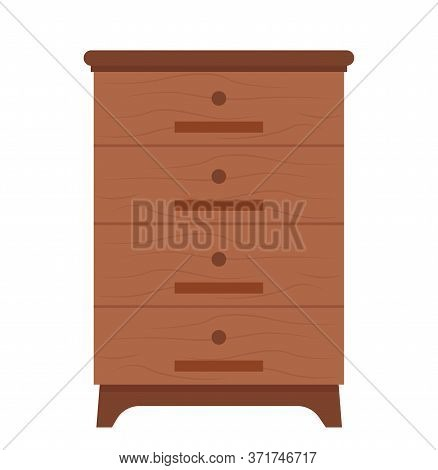 Chest Of Drawers Vector, Isolated Container With Shelves To Put Things, Organization Of Home, Furnit