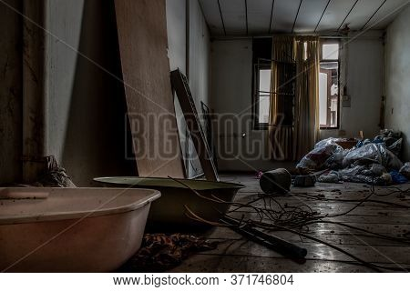 Bangkok, Thailand - Jan 19, 2020 : Abandoned Room With Baby Bath Was Left To Deteriorate Over Time,