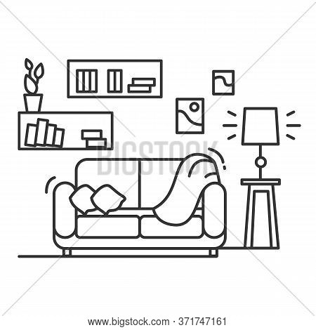 Living Room Icon. Linear Pictogram Of Rum With Sofa, Books, Wall Decor And Bright Lamp. Concept Of C
