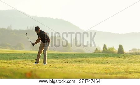 Golfer Sport Course Golf Ball Fairway.  People Lifestyle Man Playing Game Golf Tee Of On The Green G