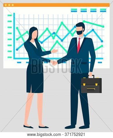 People Working In Team Vector, Business Analysis Of Charts. Handshake Of Man And Woman Partners Coll