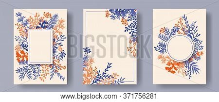 Hand Drawn Herb Twigs, Tree Branches, Flowers Floral Invitation Cards Templates. Bouquet Wreath Roma