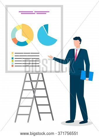 Male Character Wearing Formal Clothes Presenting Whiteboard With Data And Information In Visual Form