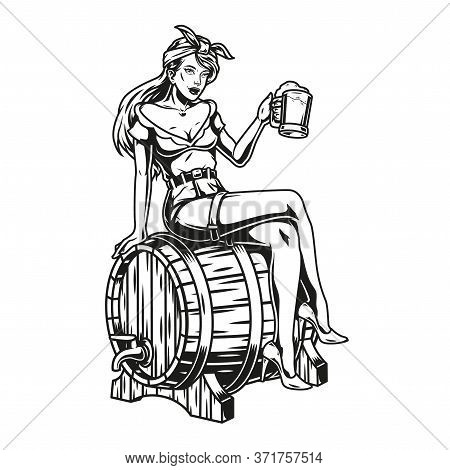 Brewing Vintage Monochrome Concept With Pretty Girl Holding Cup Of Beer And Sitting On Wooden Cask I