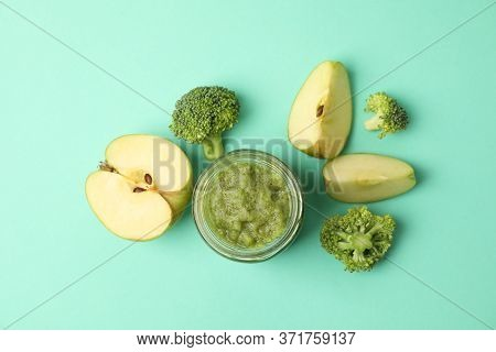 Vegetable Puree On Mint Background, Top View