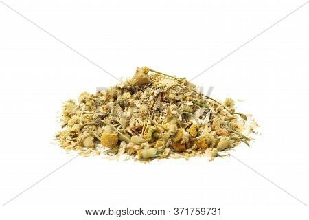 Heap Of Dried Chamomile Isolated On White Background