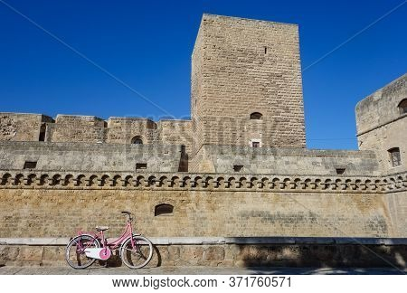 Perspective Of The Swabian Castle Of Bari. Puglia. Italy.