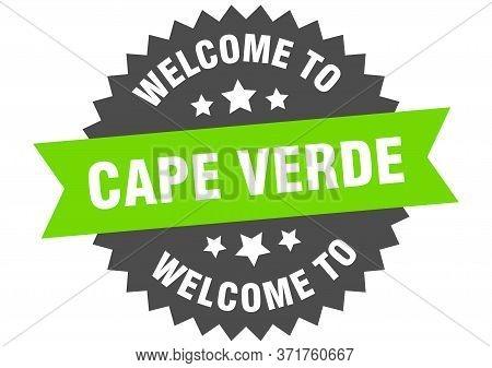 Cape Verde Sign. Welcome To Cape Verde Green Sticker