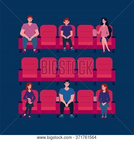 Social Distance In The Cinema. Vector Flat. There Are Few People In The Cinema Hall, Virus Protectio