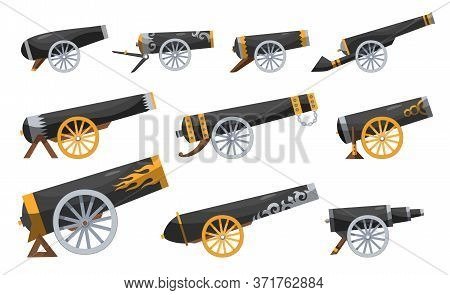 Antique Pirate Cannons. Set Vintage Gun. Color Image Of Medieval Cannon For Old Ships On A White Bac