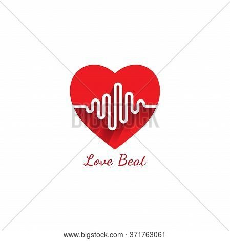 Love Beat Logo Design Template. Heart Or Love Icon With Pulse Signal Logo Concept. Pictrogram Vector