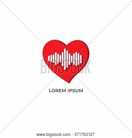 Heart Frequency Vector Illustration Isolated On White Background. Love Icon With Signal Frequency De