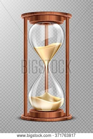 Wooden Hourglass With Falling Sand Isolated On Transparent Background. Ancient Clock, Symbol Of Pati