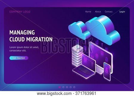 Digital Data Migration Isometric Landing Page, Cloud Computing, Media Server, Saas Service For Priva