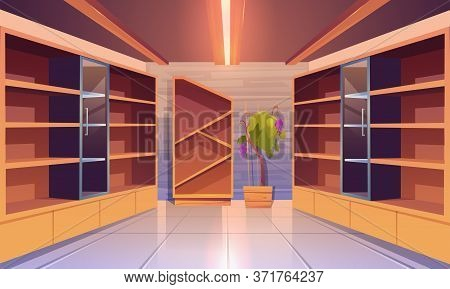 Wine Shop, Cellar Interior With Empty Wooden Shelves, Showcase With Glass Door, Potted Grapes Vine,