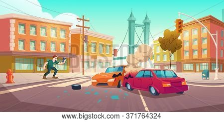 Man Shoots Car Crash On Smartphone. Auto Accident On Crossroad On City Street. Vector Cartoon Citysc
