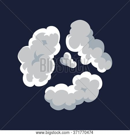 Cartoon pattern of smoke cloud. Bomb blast. Comic fog puff. Steam cloud, watery vapour or dust explosion element