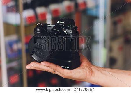 Ufa, Russia - November 30, 2018: Studio Shot Of Brand New Nikon Z6 Mirrorless Camera With Nikkor Z 2