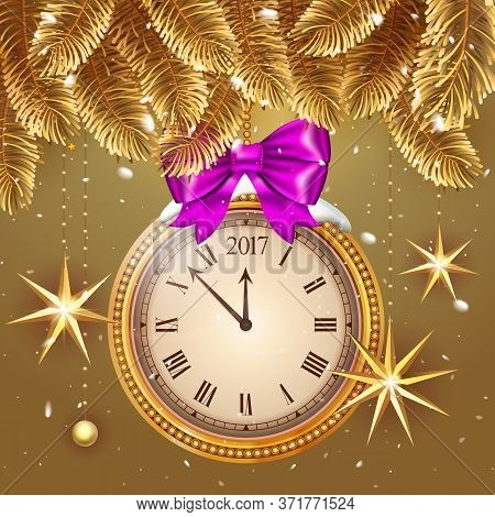 Gold Glitter Vector 2017 Happy New Year Background With Gold Clock And Christmas Decoration Ornament