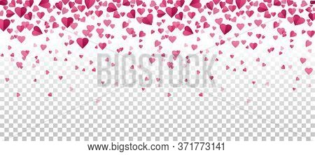 Falling Pink Hearts On Transparent Background