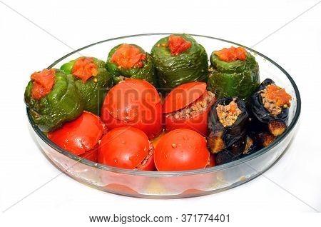 Pepper And Eggplant Stuffed . Stuffed Eggplant In The Plate . Eggplants Are Stuffed With Meat Lamb A