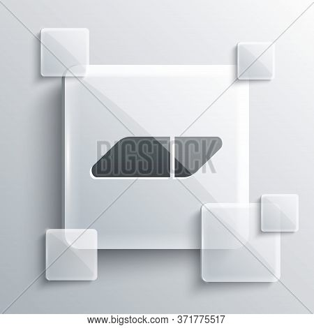 Grey Eraser Or Rubber Icon Isolated On Grey Background. Square Glass Panels. Vector Illustration
