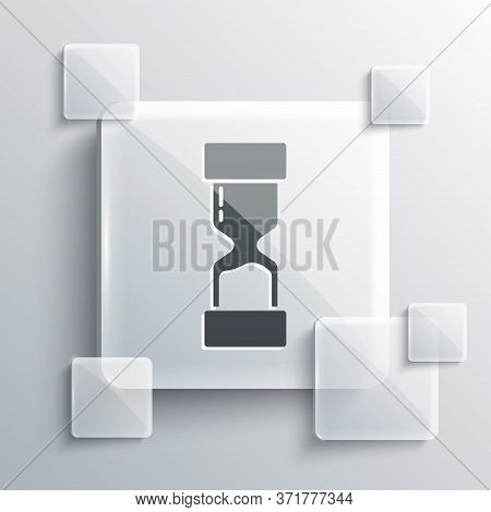 Grey Old Hourglass With Flowing Sand Icon Isolated On Grey Background. Sand Clock Sign. Business And