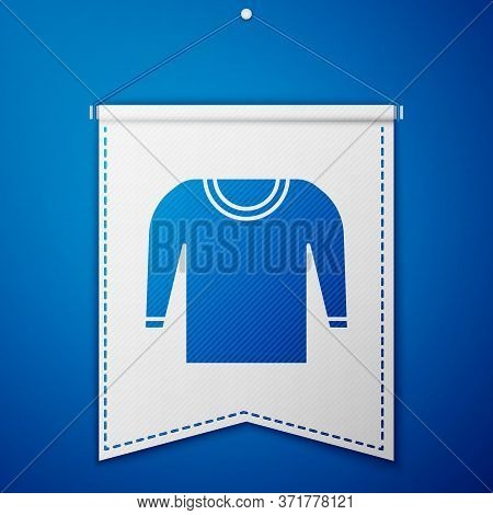 Blue Sweater Icon Isolated On Blue Background. Pullover Icon. White Pennant Template. Vector Illustr