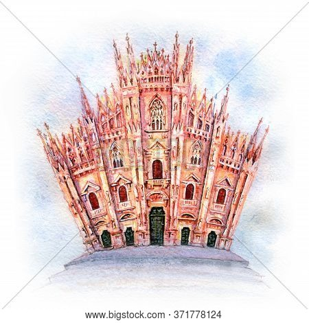Watercolor Sketch Of Piazza Del Duomo, Cathedral Square, With Milan Cathedral Or Duomo Di Milano In