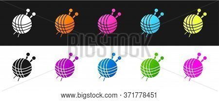 Set Yarn Ball With Knitting Needles Icon Isolated On Black And White Background. Label For Hand Made