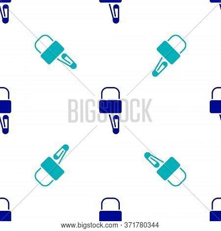Blue Lockpicks Or Lock Picks For Lock Picking Icon Isolated Seamless Pattern On White Background. Ve