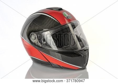 Sportmodular Agv Aero Carbon Red Motorcycle Modular Helmet Made Of Carbon Fiber. It Is The Top Of Th
