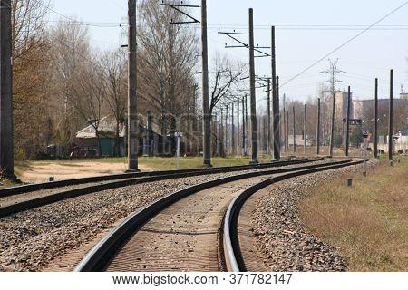Railroad Tracks. Construction Of Railway Tracks. Railway Infrastructure. Winding Railroad Tracks. Su