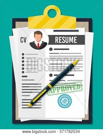 Clipboard With Job Application And Pen. Cv Papers Resume. Job Interview. Human Resources Management