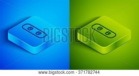Isometric Line Snowboard Icon Isolated On Blue And Green Background. Snowboarding Board Icon. Extrem