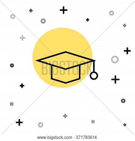 Black Line Graduation Cap Icon Isolated On White Background. Graduation Hat With Tassel Icon. Random