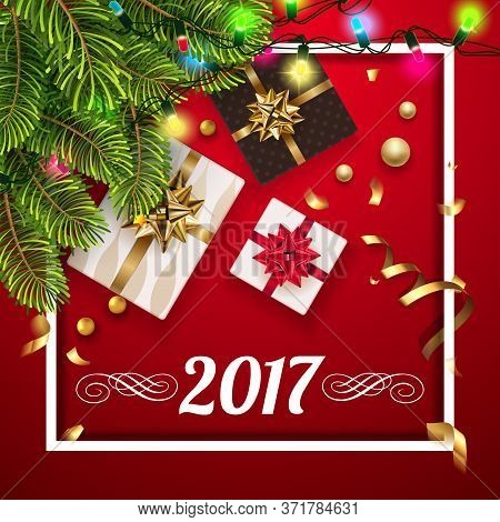 Vector 2017 Happy New Year Background With Golden Gifts Bow Under Fir Tree. Christmas Decoration, Co