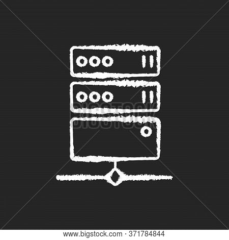 Proxy Server Chalk White Icon On Black Background. Online Resource Access. Internet Privacy And Virt