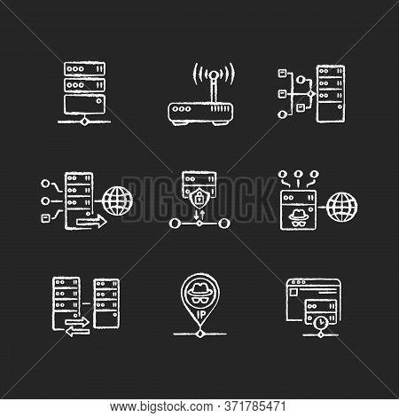 Virtual Proxy Servers Chalk White Icons Set On Black Background. Vpn Services, Internet Routing Tech