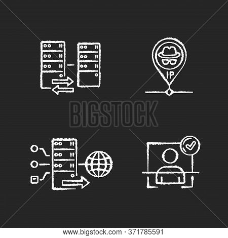 Virtual Networking Chalk White Icons Set On Black Background. User Authentication, Hidden Ip, Forwar