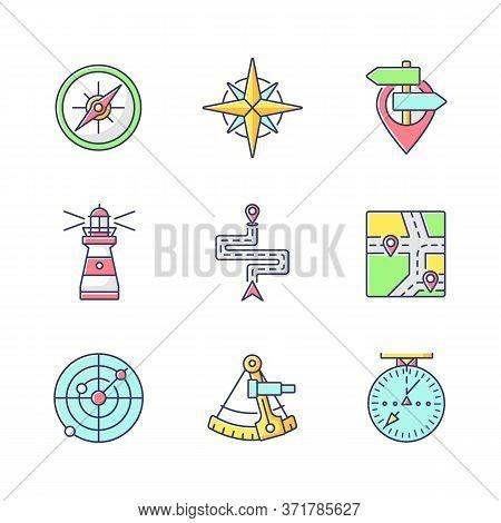 Navigation Rgb Color Icons Set. Geographical Location Positioning, Cartography. Marine, Aeronautic,