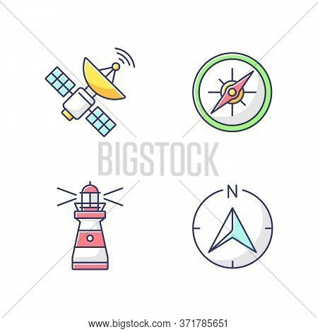 Navigation Rgb Color Icons Set. Sea Navigation And Radiolocation. Space Satellite, Marine Compass, L