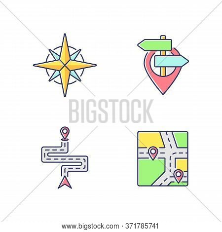 Navigation Rgb Color Icons Set. Modern Land And Marine Navigation. Rose Of Winds, Location Pointer,