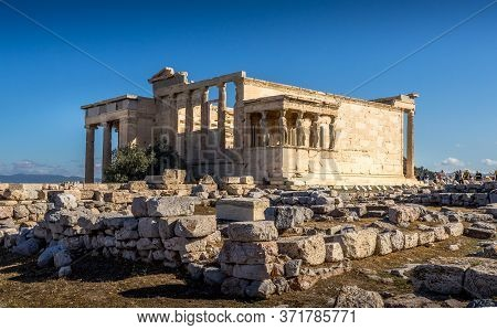 Athens, Greece - Oct 0, 2019. The Erechtheion An Ancient Greek Temple On The North Side Of The Acrop