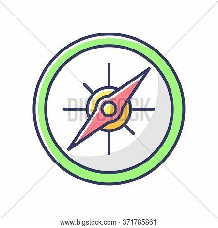 Compass Rgb Color Icon. Marine And Land Navigation, Direction Guide Tool. Traveler Instrument With C