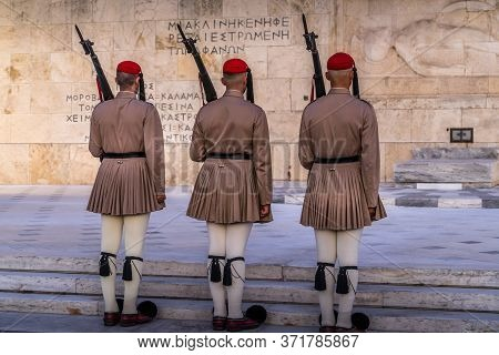 Athens, Greece - Oct 9, 2019 - Change Of The Guard At The Tomb Of The Unkonwn Soldier At The Preside