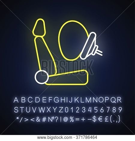 Airbag Neon Light Icon. Accident Protection, Safety Precaution. Outer Glowing Effect. Sign With Alph